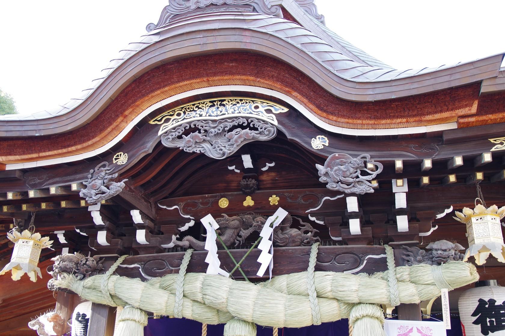 櫛田神社大殿屋簷下的風神、雷神㓮刻