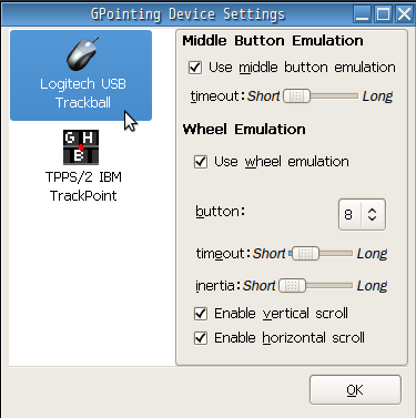 Trackball in gpointing device settings